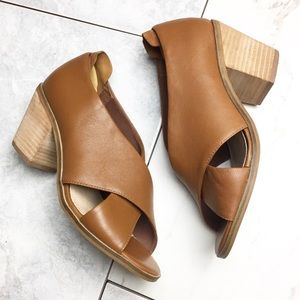 Kelsi Dagger Tan Leather Peep Wrap Heel Booties